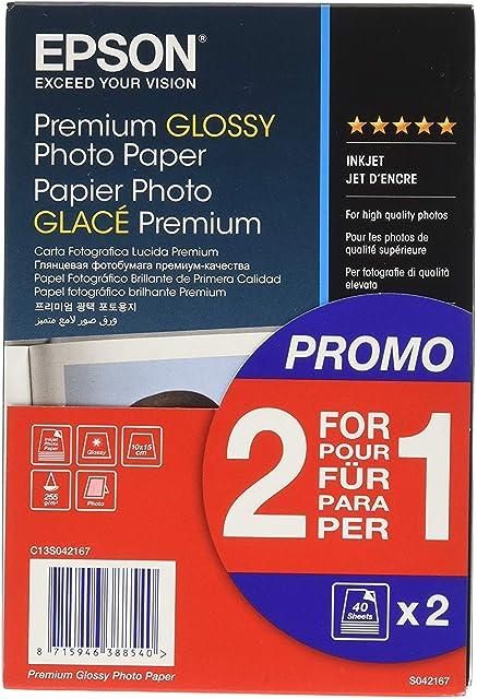 Epson Premium Glossy - Papel fotográfico 10 x 15 cm 2 x 40 hojas 255 g - Glacé