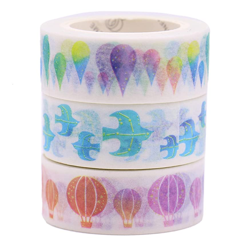 Monrocco 3 Rolls Washi Tape Set Decorative Paper Tapes Adhesive Masking Tape Adhesive Tape for DIY Craft Gift Wrapping (Hot Air Balloons, Birds, Water Droplets)