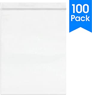 100 Count - 9 X 12, 2 Mil Clear Plastic Reclosable Zip Poly Bags with Resealable Lock Seal Zipper by Spartan Industrial (More Sizes Available)