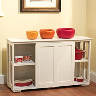 TMS Pacific Stackable Storage with Wood Door, Antique White