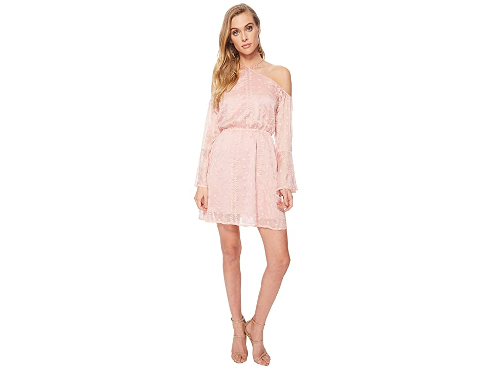 J.O.A. Flare Sleeve Cold Shoulder Dress (Pink) Women