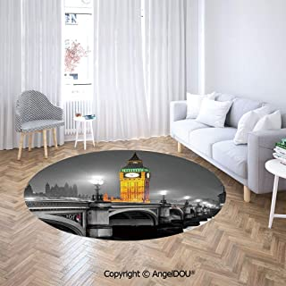 AngelDOU Round Area Rug Stain Fade Resistant Floor Mat The Big Ben and The Westminster Bridge at Night in UK Street River European Look Soft Living Dining Room Area Rug