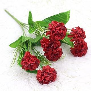 PAKUES-QO Faux Bouquet 9 Grande Tête De Fleur Hortensia Artificiel Boule De Chrysanthème Fausse Fleur De Soie Bricolage Ma...