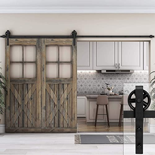 EaseLife 10 FT Heavy Duty Sliding Barn Wood Door Hardware Track Kit,Sliding  Smooth Quiet