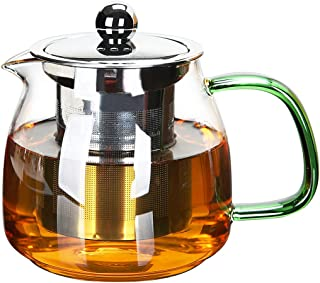 Teapot,Heat-resistant glass kettle,High Borosilicon Material,Hot and cold applicability,25oz/750ml (Green handle)