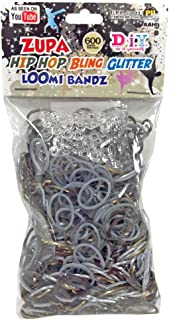 600 Hip Hop Bling Glitter Loom Bands with 24 S Clips - Metallic Gold, Silver, Chocolate Glitter Mixed