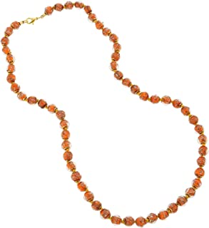 Murano Glass Sommerso Long Necklace - Orange
