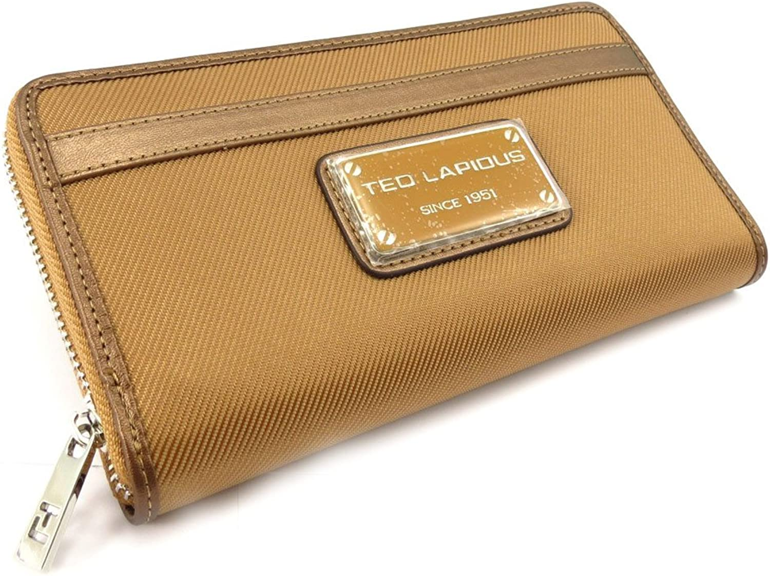 Wallet + checkbook holder zipped 'Ted Lapidus' camel.
