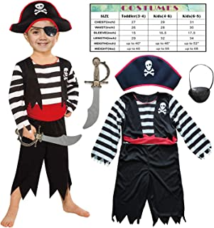 Leaderjoy Children's Pirate Costume for Toddlers Boys Girls with All in one Pirate Suit,Cutlass,Eyepatch
