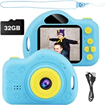Kids Camera, Digital Video Camera Children Creative DIY Camcorder with Rechargeable Battery Birthday / Christmas / New Year Toy Gifts for 3 4 5 6 7 8 9 10 Year Old Girls with 32GB SD Card (Blue)