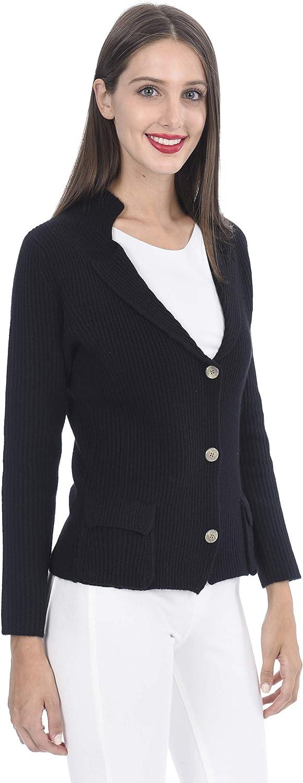 State Cashmere Damen Knöpfenner Strickjacke mit Taschen 100% Reiner Kaschmir Langarm Pullover Black