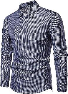 Elegeet Men's Long Sleeves Lightweight Plaid Button Up Shirt with Pocket