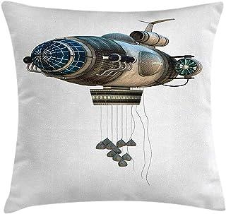 Cuscino per cuscini Zeppelin, fantasia aeronautica astronave modello di trasporto surreale, stampa grafica digitale, federa, dimgrey blu, 45X45 cm