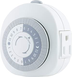 GE 24-Hour Heavy Duty Indoor Plug-In Mechanical Timer, 1 Grounded Outlet, 30 Minute Intervals, Daily On/Off Cycle, for Lam...