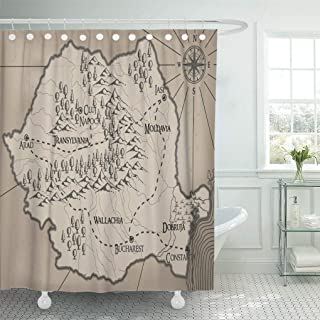 """Emvency Waterproof Fabric Shower Curtain Hooks Abstract Old Fantasy Romania Map Ancient Antique Bucharest Extra Long 72""""X96"""" Bathroom Odorless Eco Friendly"""