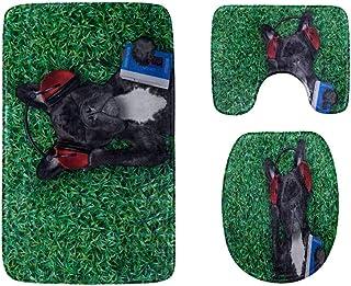 Happy Animal Dog Enjoy Music Bathroom Rug Mats Set 3-Piece,Soft Shower Bath Rugs,Contour Mat and Toilet Seat Lid Cover No...
