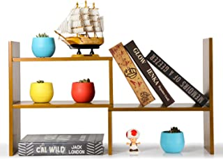 NIUBEE Adjustable Natural Bamboo Desktop Bookshelf Countertop Bookcase,Desk Book Storage Organizer Display Shelf Rack(Natural Bamboo)