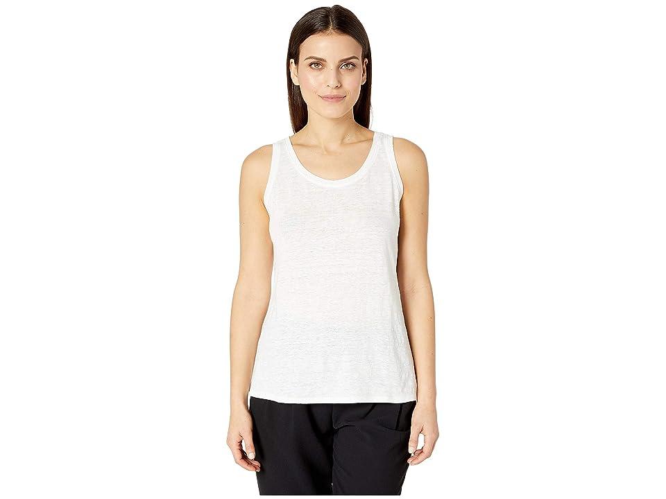 Eileen Fisher Petite Organic Linen Jersey U-Neck Long Tank Top (White) Women