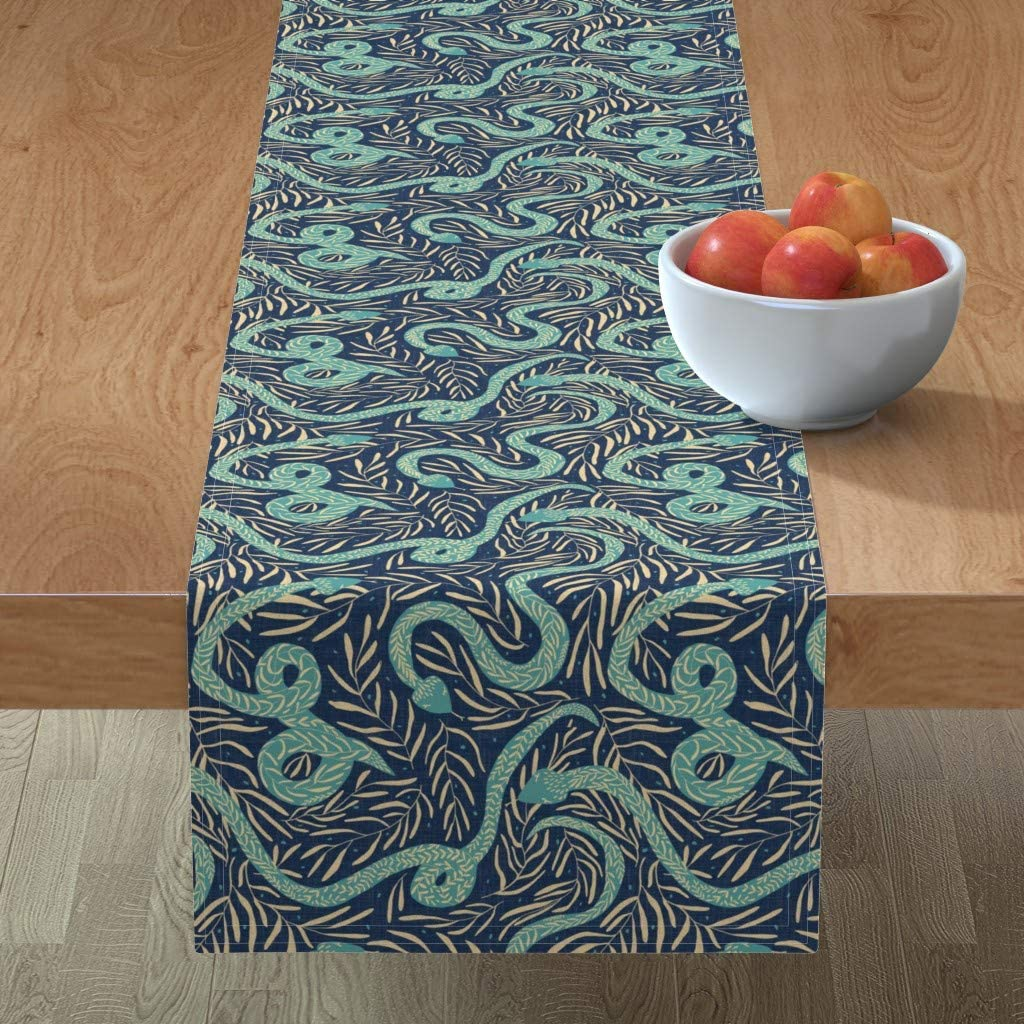 Roostery Super sale Spoonflower Tablerunner Yellow Teal Translated Floral Femini Navy