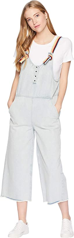 Denim Jumpsuit with Stripe Embroidery