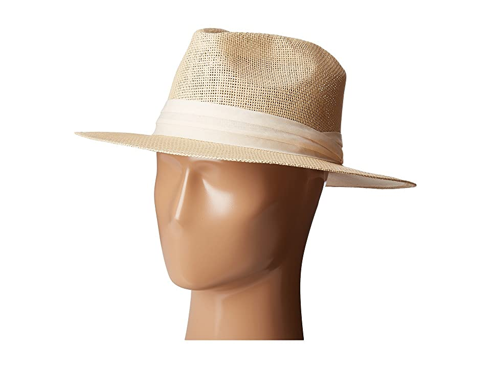 San Diego Hat Company PBF7308 Woven Paper Fedora Hat with Twill Trim (Natural) Fedora Hats