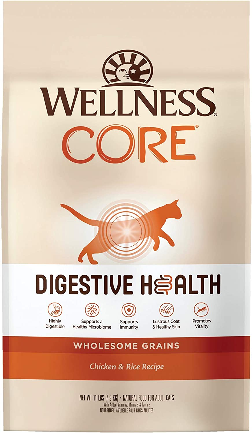 Wellness CORE Digestive Health Chicken National uniform free shipping Dry Food Cat Cheap super special price Rice