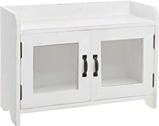 MyGift Antique White Wood Kitchen & Bathroom Countertop Mini Cabinet Organizer