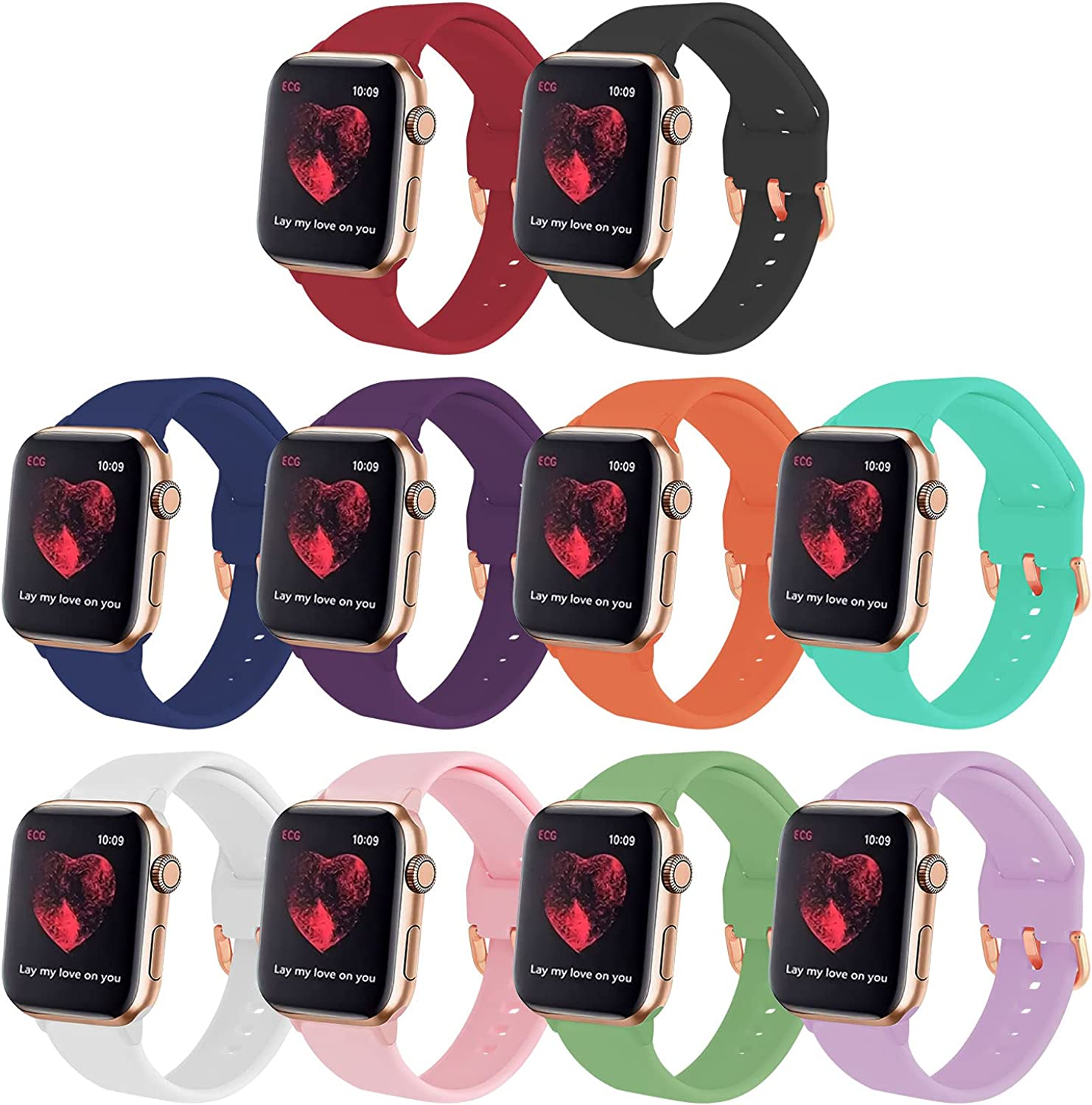GinCoband 10PCS Sport Bands Compatible with Apple Watch Bands 40mm 44mm 38mm 42mm Watch,Soft Silicone Replacement Wristband for iWatch Series 6/5/4/3/2/1/Series SE