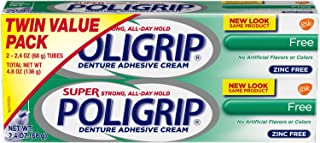 Super Poligrip Original Formula Zinc Free Denture Adhesive Cream, 2.4 ounce (Pack of 2)