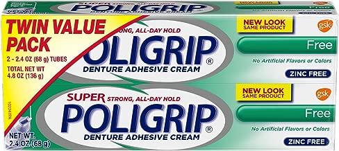 Super Poligrip Original Formula Zinc Free Denture Adhesive Cream, 2.4 ounce (Pack of 2)