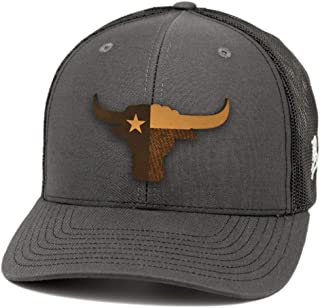 9fdee194 Branded Bills Texas 'The Longhorn' Leather Patch Hat Curved Trucker