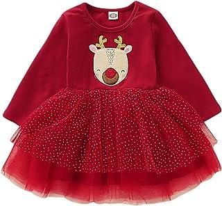 URSING Kleinkind Kinder Baby M/ädchen Santa Prinzessin Kleid mit Streifen Weihnachtskleid M/ädchenkleid Weihnachtskleidung Weihnachtskost/üm Weihnachtsmann Kleid Festliche Kinderkleider