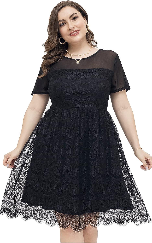 DolphinBanana Women Plus Size Little Black Dress Floral Lace Mesh Homecoming Cocktail Dresses