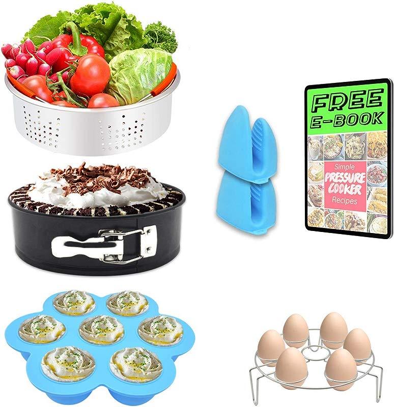 7 PCS Stackable Accessories For Instapot Set Vegetable Steamer Basket Egg Bites Molds Springform Pan Egg Steamer Rack And Anti Scald Gloves Fit 5 6 8 Qt Instapot And Pressure Cooker