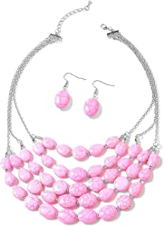 """Shop LC Delivering Joy Silvertone Pink Howlite Chroma Drop Earrings and Beaded Drape Necklace Set for Women 18"""""""