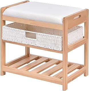 Giantex Shoe Bench Rack 2 Tier with Padded Seat & Storage Basket Shelf Rack Wood Construction Organizer for Entryway Bedroom Living Room Hallway Garage