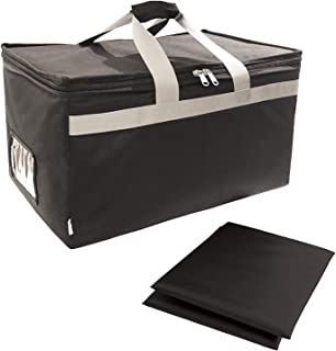 """Insulated Food Delivery Bag Carrier with 2 Detachable dividers, 23""""x15""""x13"""" XXL, Waterproof and Leakproof Interior, Uber Eats Doordash Restaurant Catering"""