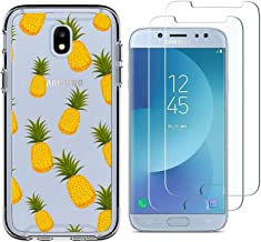 Samsung Galaxy J7 Pro Case with 2 Pack Glass Screen Protector Phone Case for Men Women Girls Clear Soft TPU with Protective Bumper Cover Case for Samsung Galaxy J7 Pro J730G 2017 -Pineapple