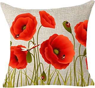 FELENIW Charming red Poppies flowers Throw Pillow Cover Cushion Case Cotton Linen Material Decorative 18