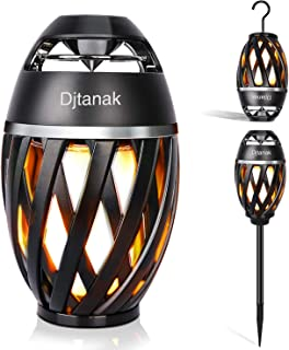 Djtanak Waterproof Flickering Tiki Torch Lights Outdoor Bluetooth Speaker with Pole, Hook, Romantic Dancing Flames, Stereo Sound, Exclusive BassUp, TWS Supported, Table Lamp for Indoor Garden Patio