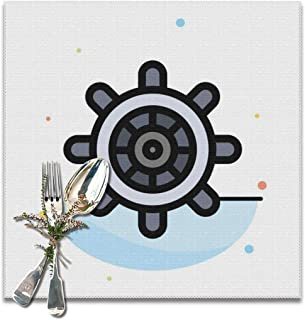 KATERN Boat Ship Wheel Abstract Flat Color Icon Template_548 Placemats,Washable Polyester Table Mats,Elegant Placemats for Dining Table Set of 6