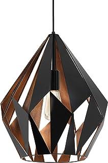Lámpara colgante EGLO CARLTON 1, lámpara de suspensión con 1 bombilla, lámpara suspendida retro de acero, color: negro, cobre, casquillo: E27, Ø 38,5 cm