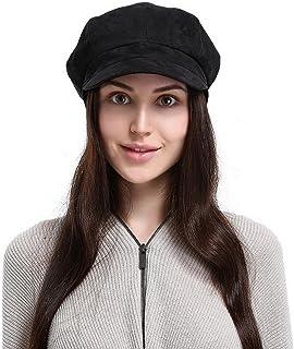 Jelord Gorra Boinas para Mujeres, Gorras de Mujer Sombrero Octogonal Suave Gamuza Gorra de Boina Sombrero Mujer para Prima...