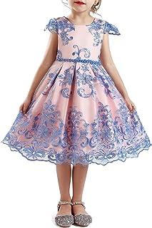 NNJXD Vestido de Fiesta de Halloween de Princesa de Flores de Tul para Niñas de