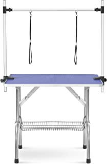 Dog Grooming Table Double Leash,JULYFOX 46 inch Folding Pet Grooming Table W/Storage Mesh Tray Arm Clamp Adjustable Height 330LB Heavy Duty Portable Grooming Table for Small Medium Large Dogs Cats