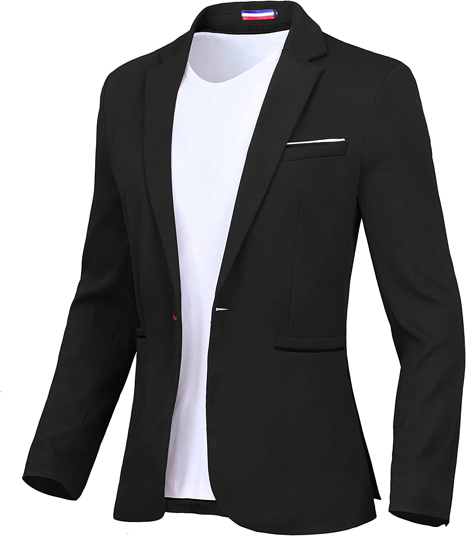 Men's Blazer One Button Slim Fit Lightweight Casual Sports Coat