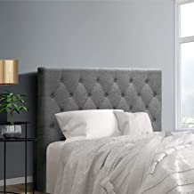 King Single Size Headboard, Fabric Upholsterd Bed Head, Grey