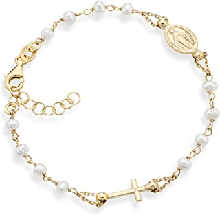 MiaBella 18K Gold over 925 Sterling Silver Handmade Italian 3.5-4mm White Cultured Freshwater Pearl Rosary Cross Charm Bead Bracelet for Women Teen Girls, Adjustable Link Chain 6 to 8 Inch 925 Italy