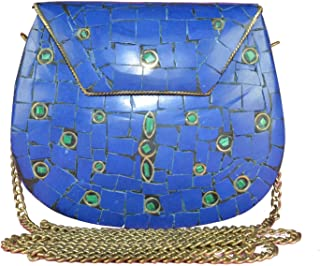Eshopitude Gift Item Chipped Stone Metal Clutch Blue Onyx Gemstone With Shoulder Chain Brass Women's & Girl's Handbag/Clut...