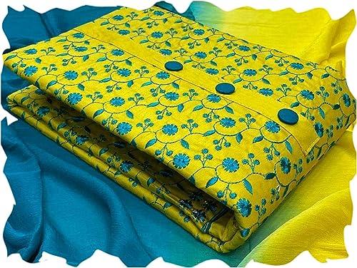 Women s Slub Cotton Embroidery Unstiched salwar suit Dress Material free size